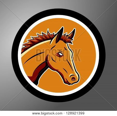 Horses Circle sticker .eps10 editable vector illustration design