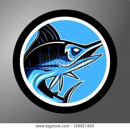Marlin Circle sticker .eps10 editable vector illustration design