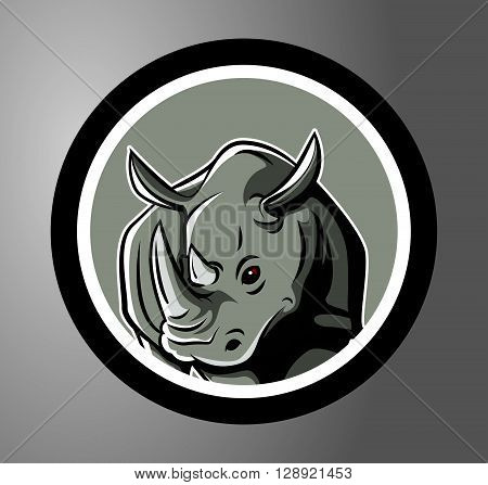 Rhinoceros Circle sticker .eps10 editable vector illustration design