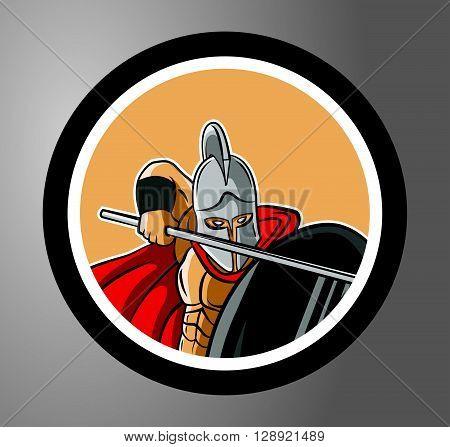 Spartan Circle sticker .eps10 editable vector illustration design