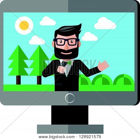 Weather reporter illustration .eps10 editable vector illustration design