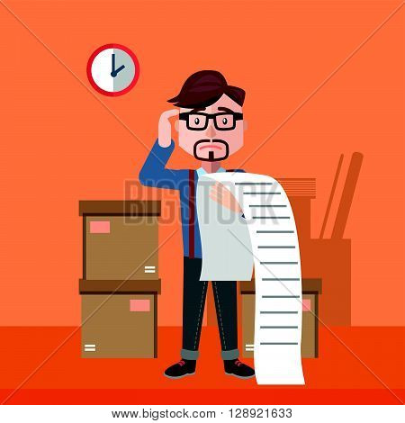 businessman confused bill flat color cartoon illustration .eps10 editable vector illustration design