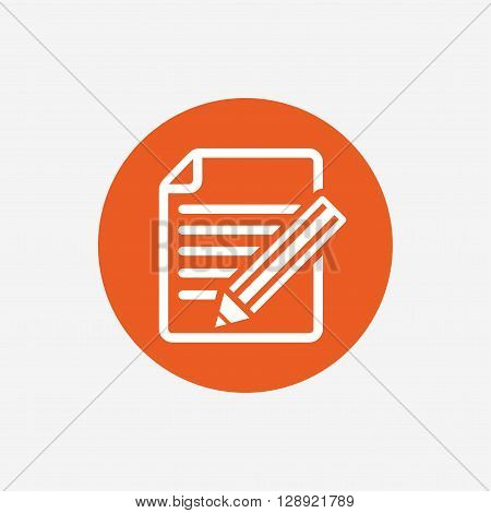 Edit document sign icon. Edit content button. Orange circle button with icon. Vector