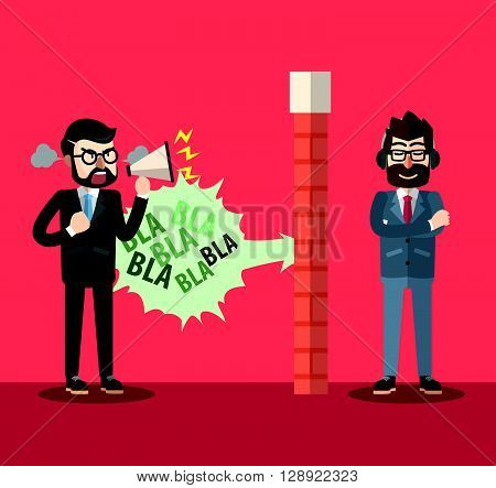 Wall protection from angry boss .eps10 editable vector illustration design
