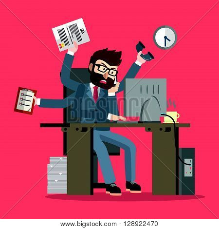 Business man multy tasking .eps10 editable vector illustration design