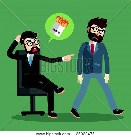Businessman fired contract .eps10 editable vector illustration design