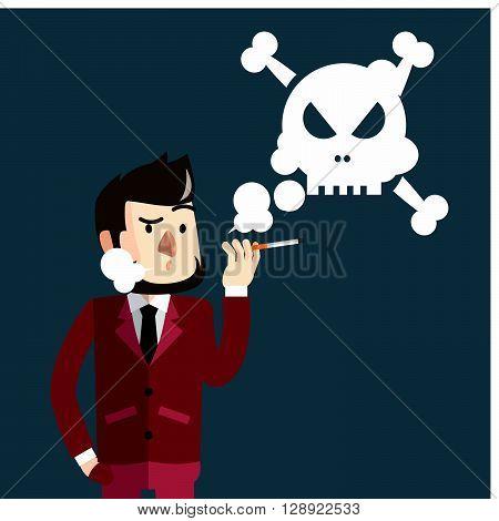 Business man smoking bad .eps10 editable vector illustration design