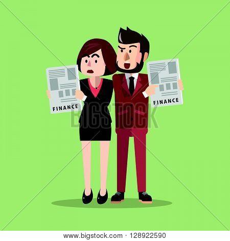 Business man and woman bad finance .eps10 editable vector illustration design