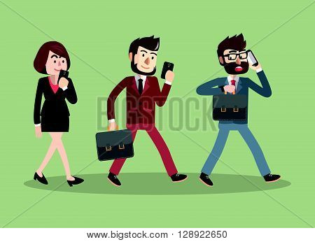 Business man woman walking with phone .eps10 editable vector illustration design