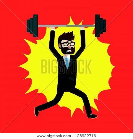 Business weightlifting  flat illustration design .eps10 editable vector illustration design