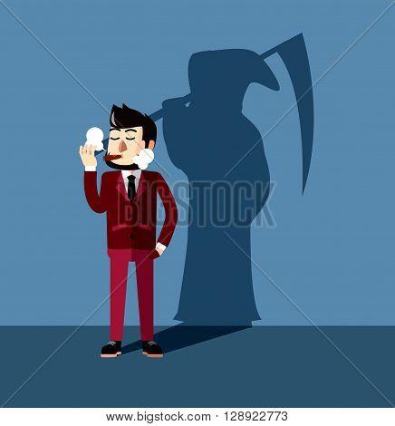 Business man smoking dangerous .eps10 editable vector illustration design