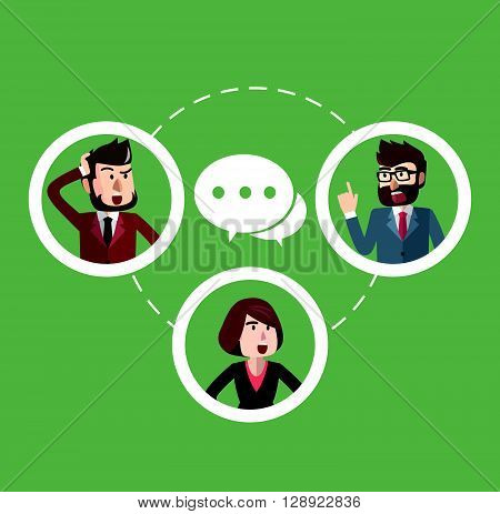 Business man interacting connection .eps10 editable vector illustration design