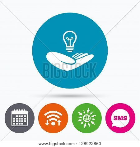 Wifi, Sms and calendar icons. Idea patent insurance sign. Hand holds lamp bulb symbol. Intellectual Property. Go to web globe.
