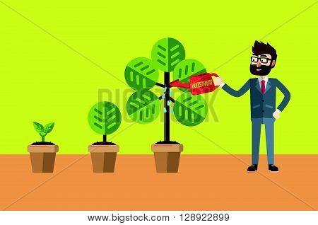 Businessman watering his plant .eps10 editable vector illustration design