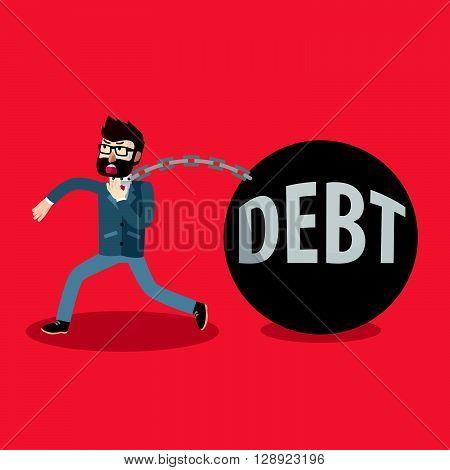 Business man debt bomb .eps10 editable vector illustration design