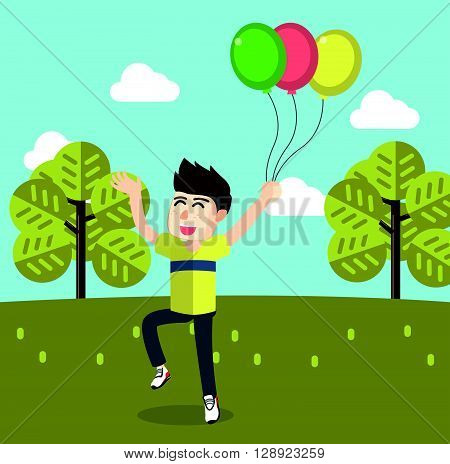 Boy getting happy playing ballons .eps10 editable vector illustration design