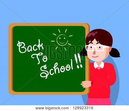 Girl holding school green board back to school .eps10 editable vector illustration design