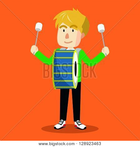 Boy drum band .eps10 editable vector illustration design