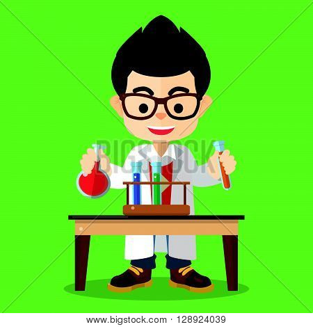 Scientist boy doing experiment .eps10 editable vector illustration design