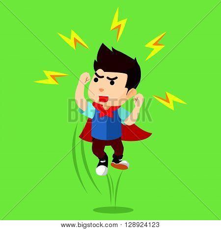 Boy have a super power .eps10 editable vector illustration design