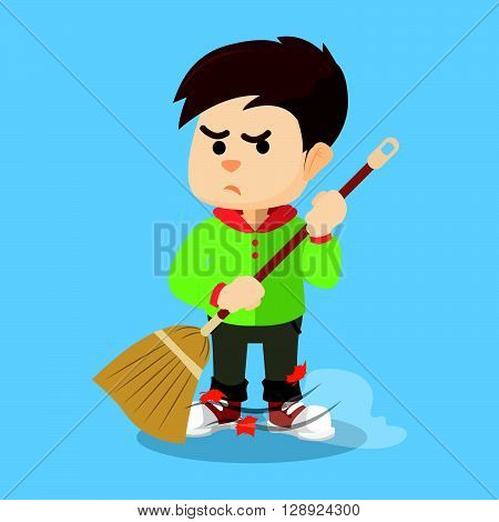 Boy sweeping with his broom .eps10 editable vector illustration design