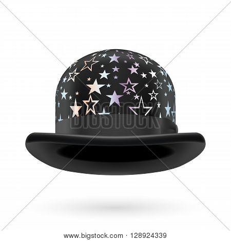 Black round bowler hat with silver glistening stars.