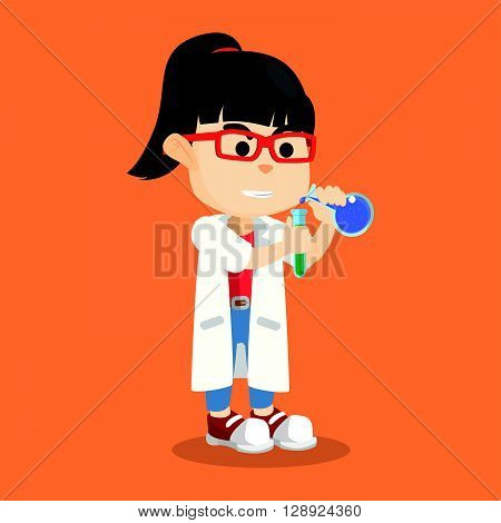 Girl wearing lab coat experiment .eps10 editable vector illustration design