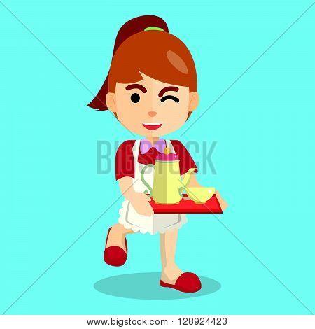 Girl using waitress costume .eps10 editable vector illustration design