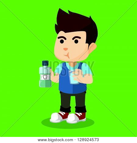 Boy gargle his mouth with mouthwash .eps10 editable vector illustration design