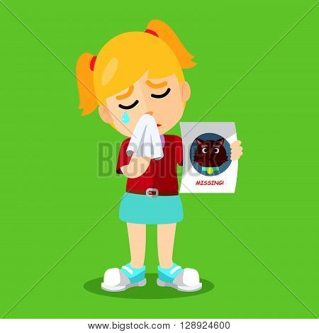 Girl crying because losing her cat .eps10 editable vector illustration design