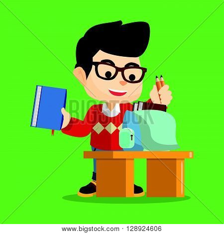 Boy preparing his book for school .eps10 editable vector illustration design