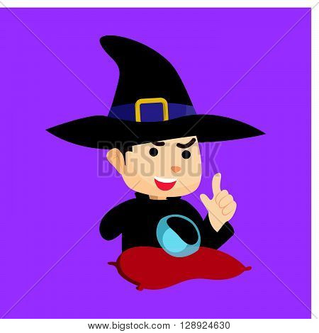 Boy using wizard costume .eps10 editable vector illustration design