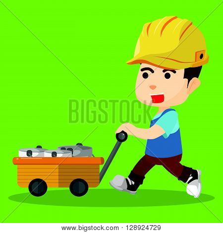 Pushing cart of paint .eps10 editable vector illustration design