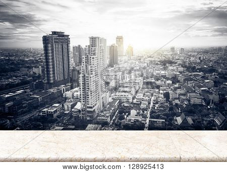 Paper Poster At Frosted Glass With Landscape View Of City Skyline Buildings From High Rise Marble Ba