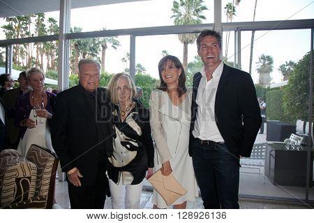 PALM SPRINGS - APR 27: Harold Matzner, Helene Galen, Linda Gray, Grafton Doyle at a cultivation event for The Actors Fund at a private residence on April 27, 2016 in Palm Springs, California