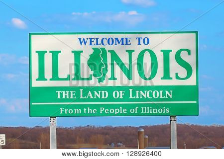 ROCK ISLAND COUNTY, USA - APRIL 15: Welcome to Illinois on April 15, 2016 in Rock Island County, Illinois.  The sign marks the entrance to Illinois on Highway 92 over the Mississippi River.