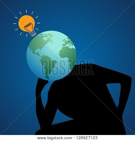 Human and earth head with yellow light bulb