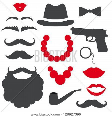 Mafia props set. Party gangster birthday photo booth props. Hat, moustache, beard, lips, beads, gun, bow tie, tube. Vector illustration mafia photo booth props. Mafia props.