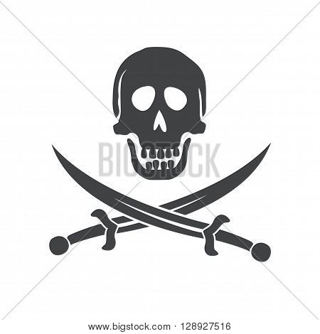 Crossbones logo. Crossbones and skull death flat icon. Scull and sword isolated icon,  silhouette. Pirate sign vector illustration. Skull icon. Skull Icon design