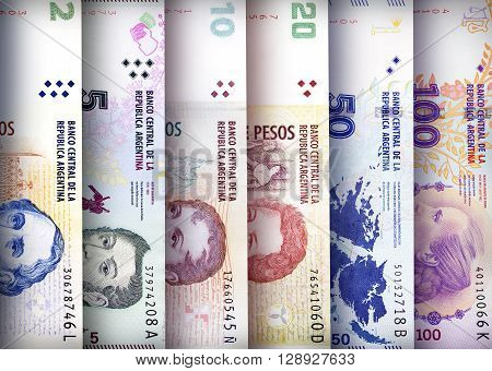 Argentinian Peso bills creating a colorful background