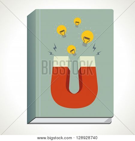 Book and magnet with light bulb and thunder