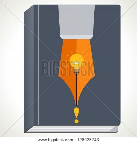 Pen and book concept with light bulb