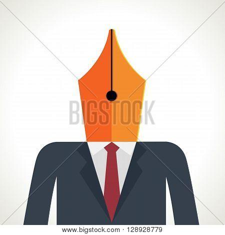 Pen on head man , businessman and pen