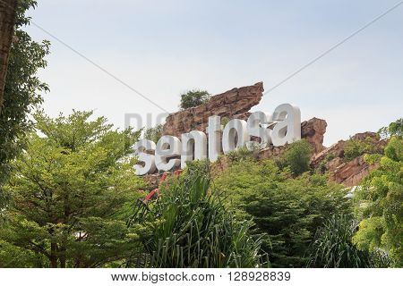 Sentosa sign on Sentosa island resort Singapore