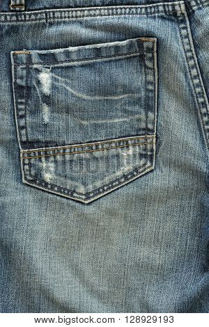 back pocket of fashion blue jeans, clothing industry
