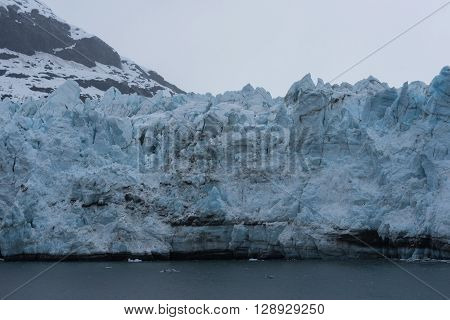 Close-up Shot of a Towering Tidewater Glacier