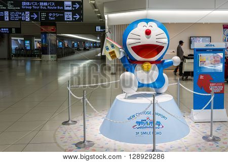 Chitose Hokkaido Japan - May 2 2016: Doraemon model performances at Chitose international Airport in Hokkaido for welcome the tourist. Doraemon is the most famous character manga series and anime series in Japanese animation.