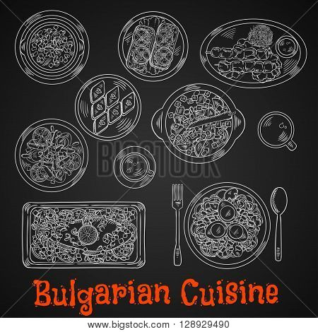 Restaurant menu of bulgarian cuisine chalk sketches on blackboard with grilled meat on skewers served with tomato sauce, baked carp, fried eggplants, topped with tomatoes, spicy bean stew, vegetable egg salads and walnut baklava with hot drinks