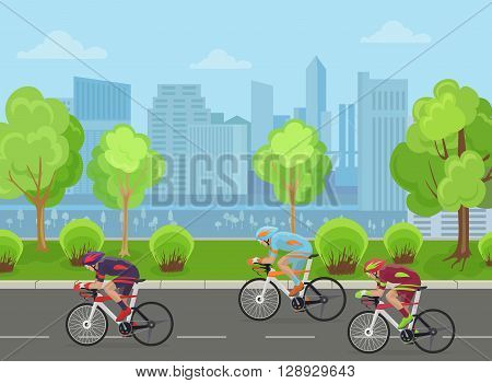 Cyclists mans on road race bicycle racing in city park concept