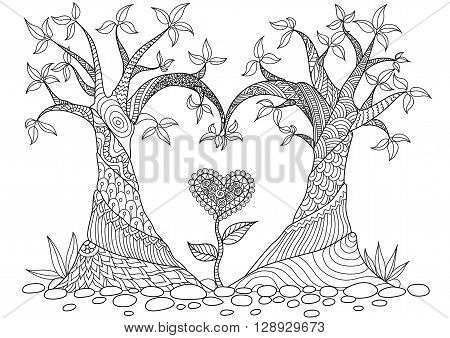 Two trees bend into heart shape for coloring book for adult, cards and other decorations